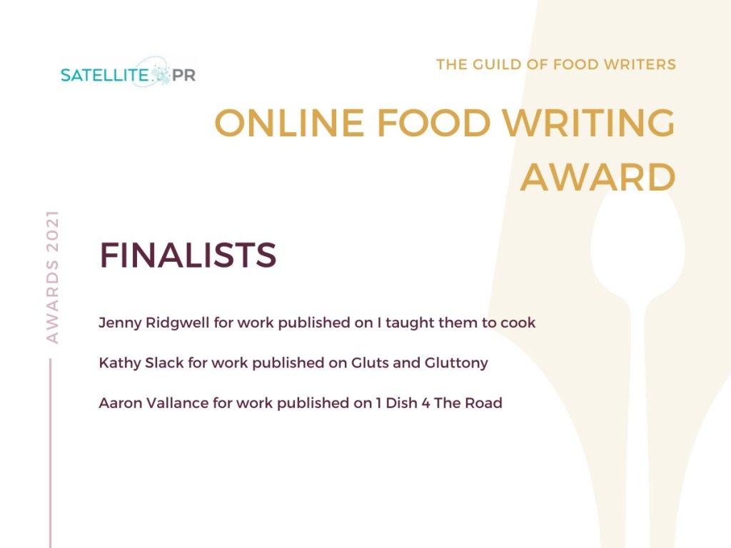 Guild of Food Writers Online Food Writing Finalist 2021